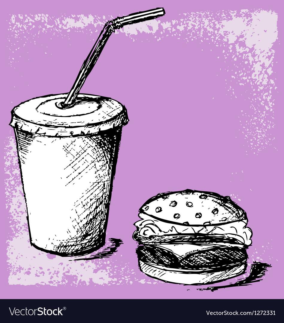 Big hamburger and soda vector image