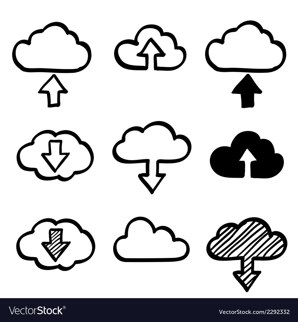 Hand draw doodle cloud shapes collection Icons for vector image