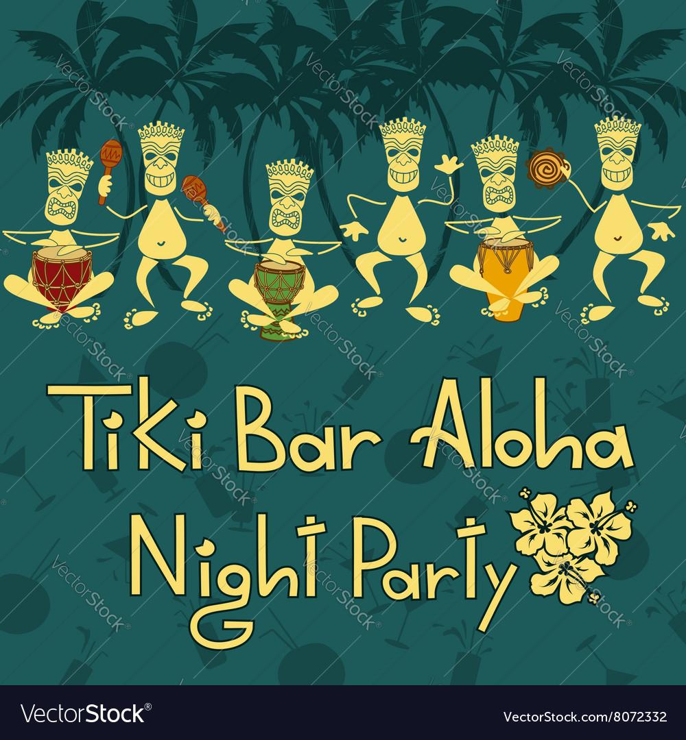 Invitation to Tiki bar night party vector image
