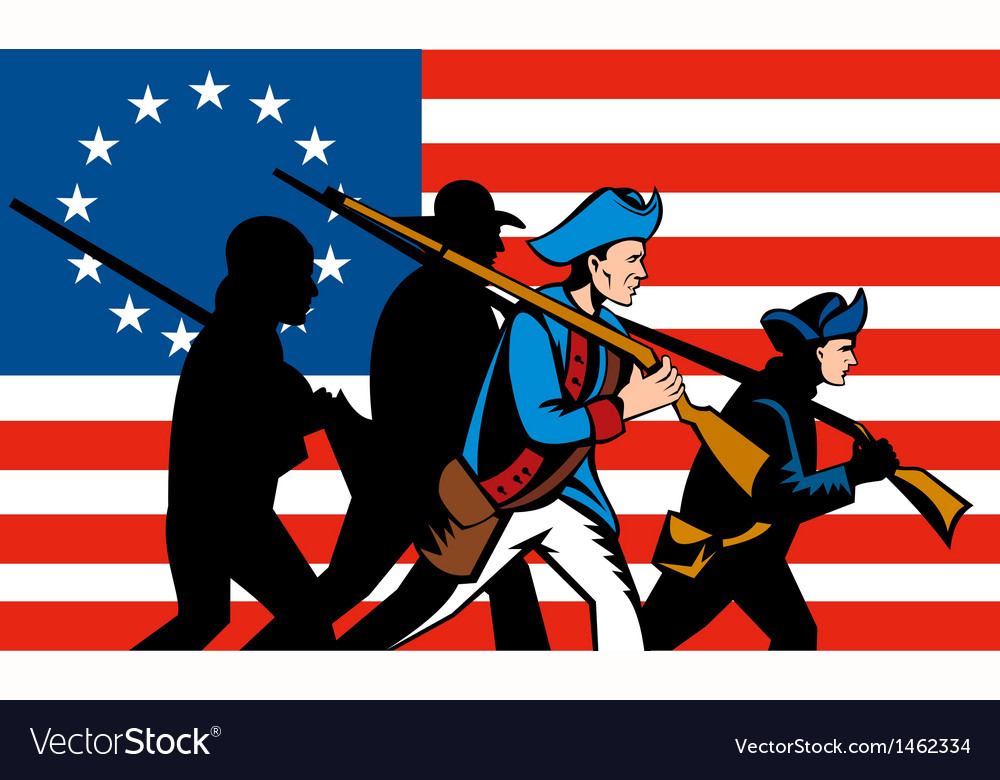 American Minuteman Militia Betsy Ross Flag vector image