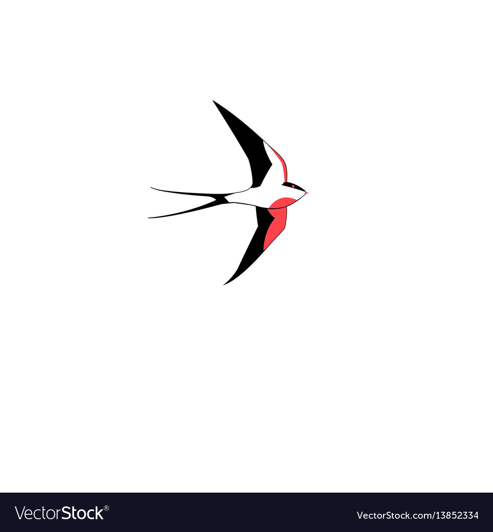 Symbol of a swallow flying vector image