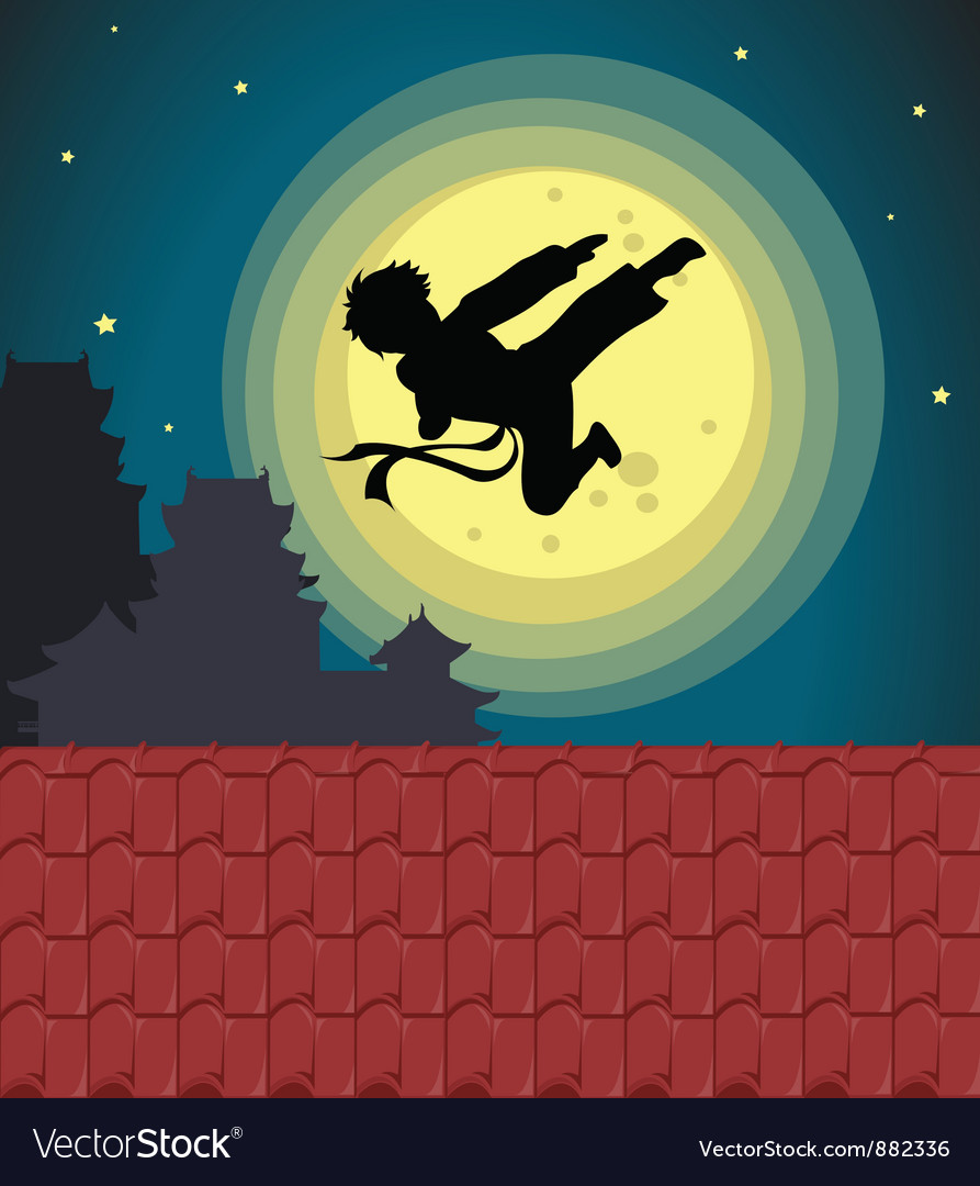 Kicking into the moonlight vector image