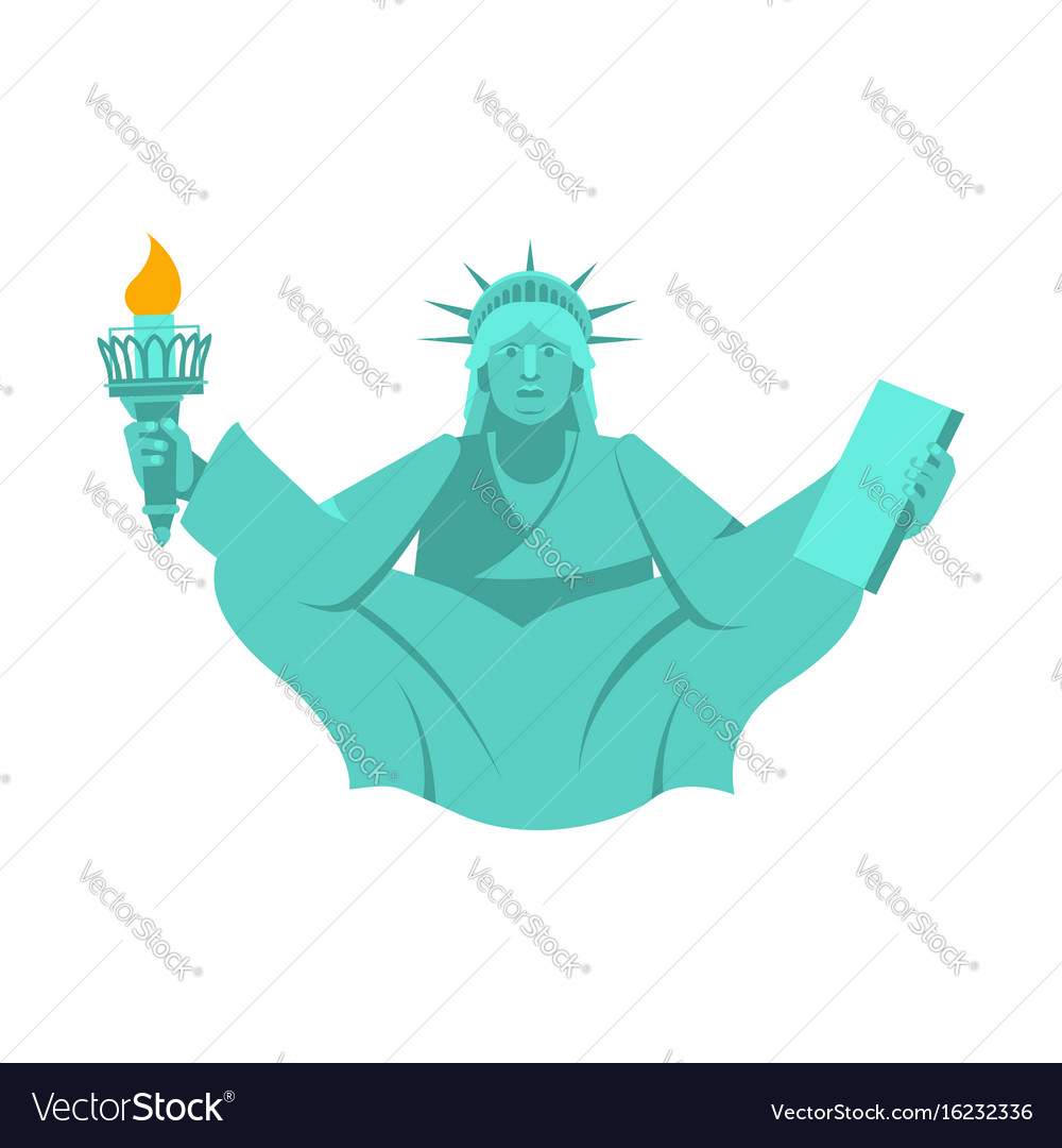 America yoga statue of liberty in lotus posture vector image