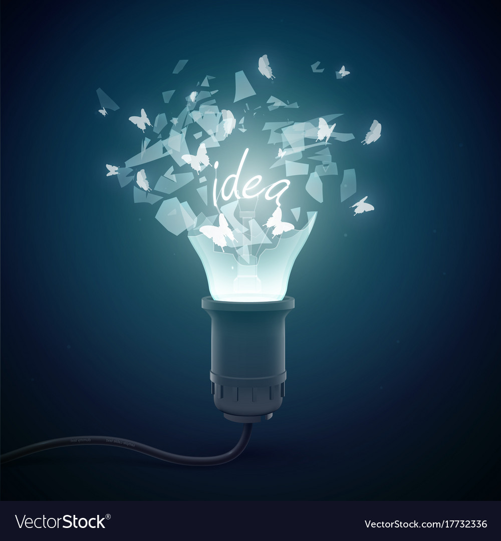 Bursting incandescent lamp background vector image