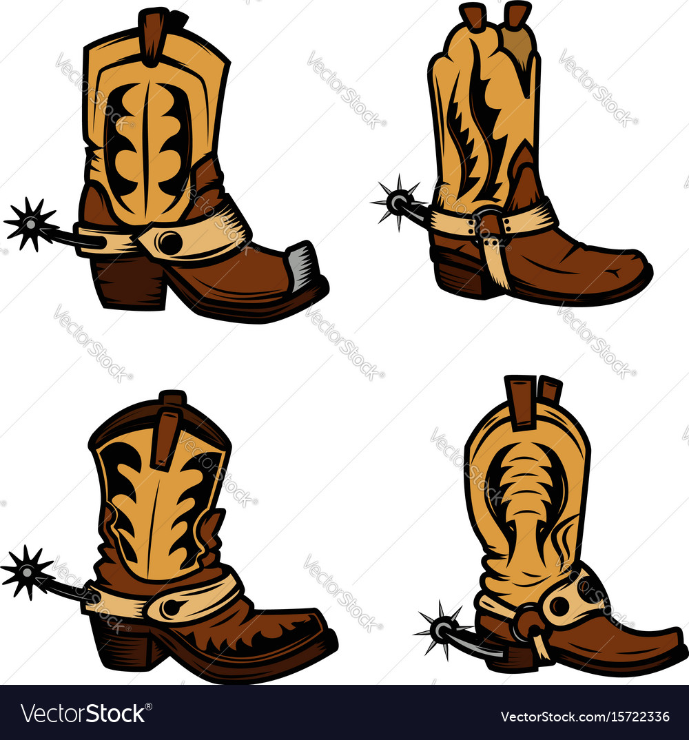 Set of the cowboy boots design elements for logo vector image