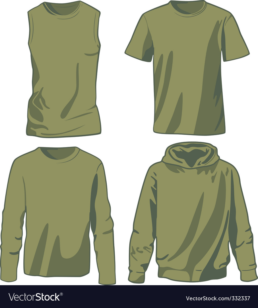 Set of khaki shirts vector image
