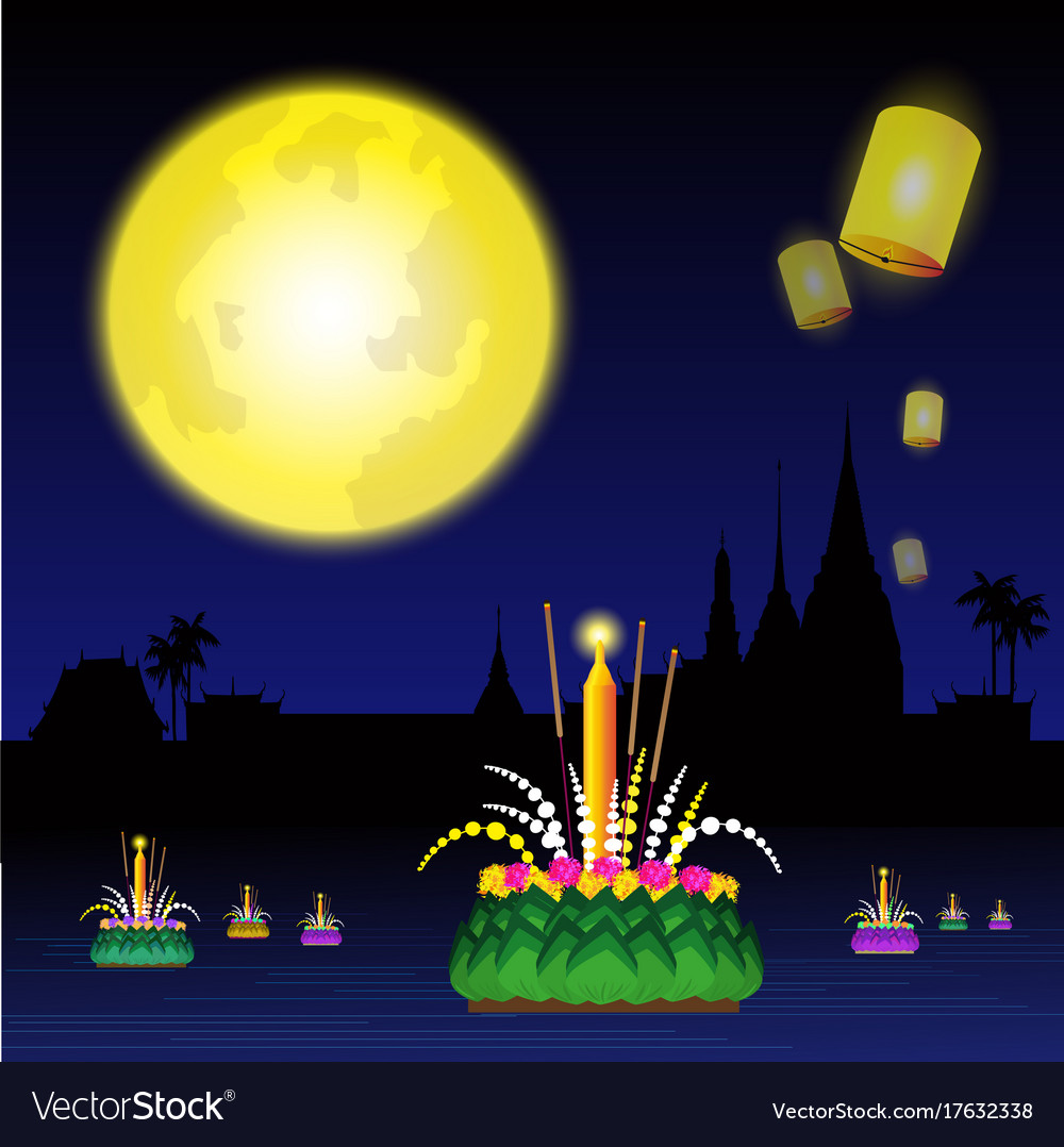 Loy krathong festival of thailand vector image