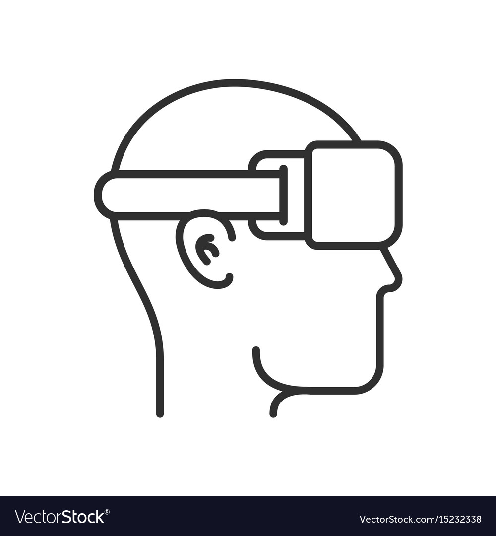 Virtual reality head silhouette with vector image