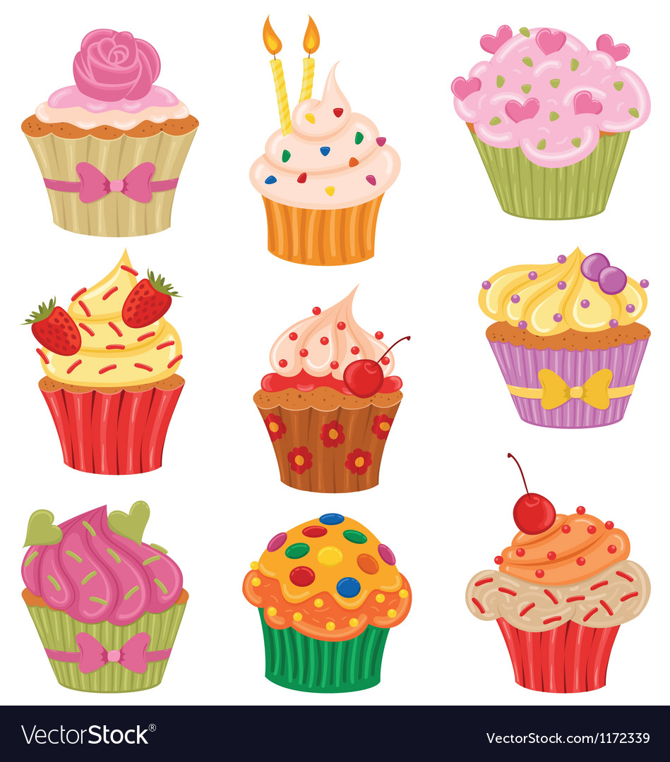 Cupcakes set vector image