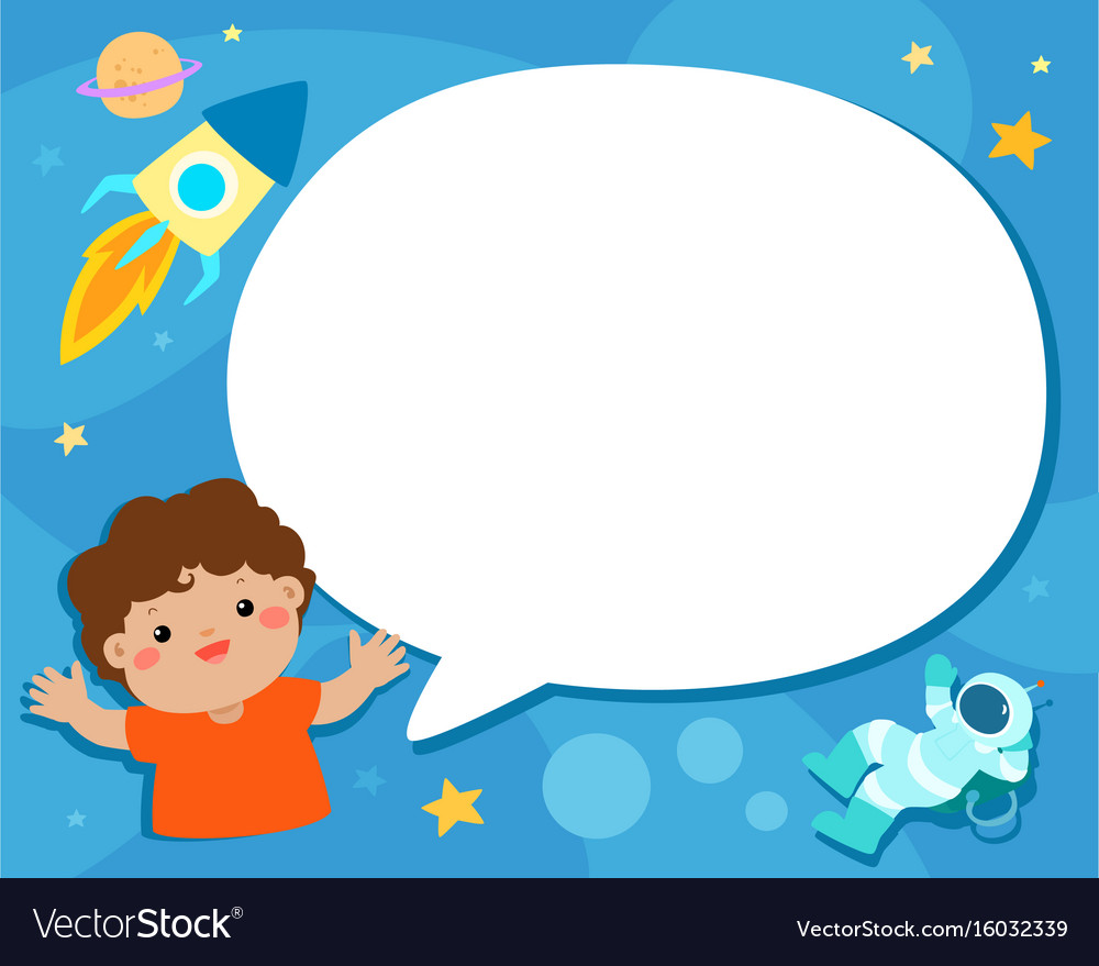 Boy with speech bubble universe background vector image