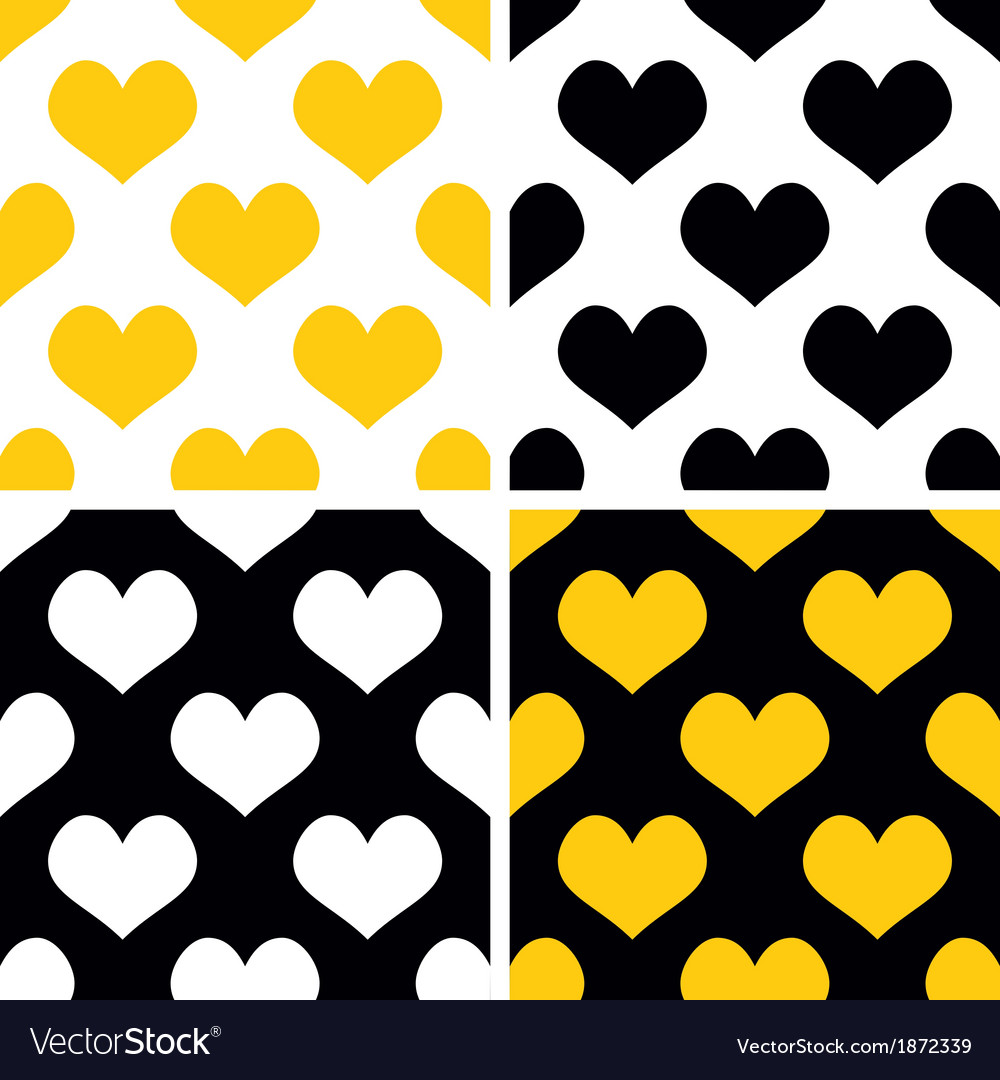 Yellow black and white hearts background set vector image