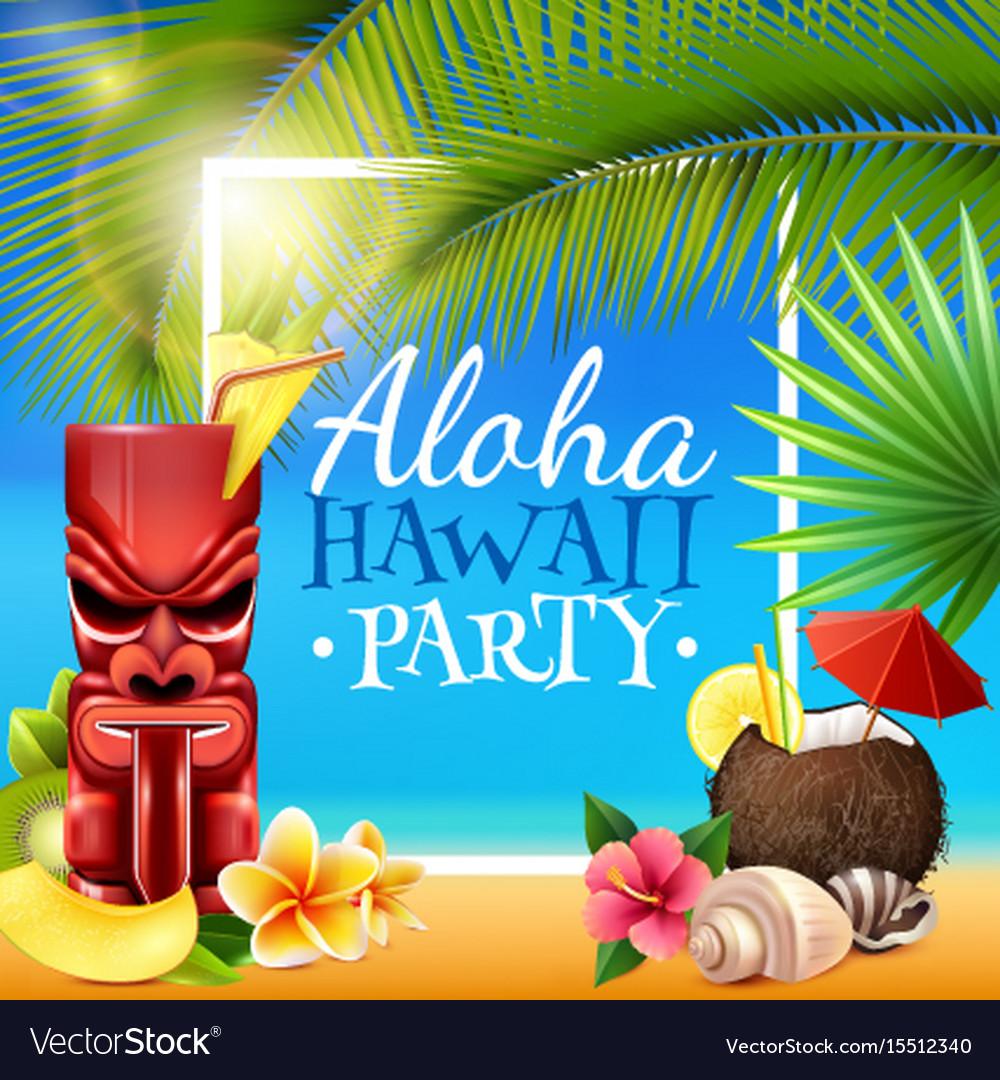 Hawaiian party frame vector image