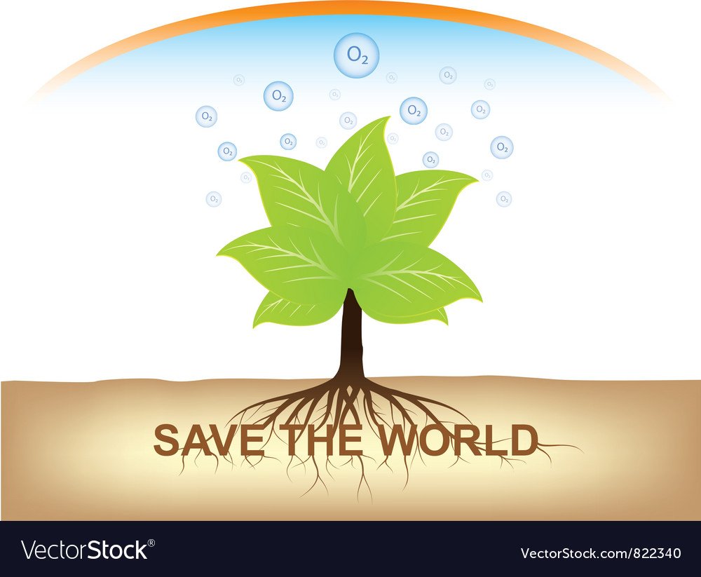 Root of tree hold on ground with oxygen vector image