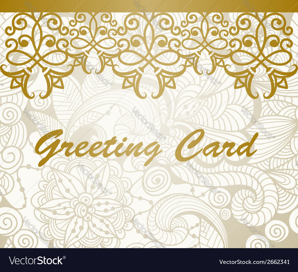 Greeting card with golden floral border royalty free vector greeting card with golden floral border vector image kristyandbryce Image collections