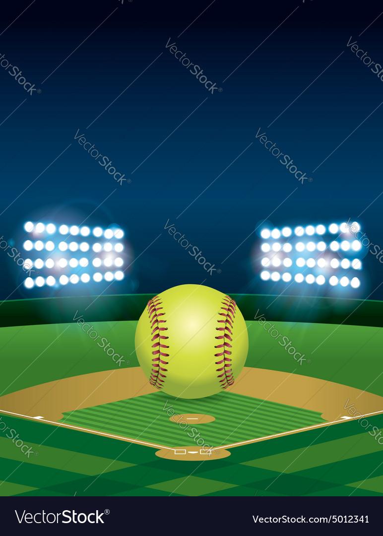 Softball on Field Copyspace vector image