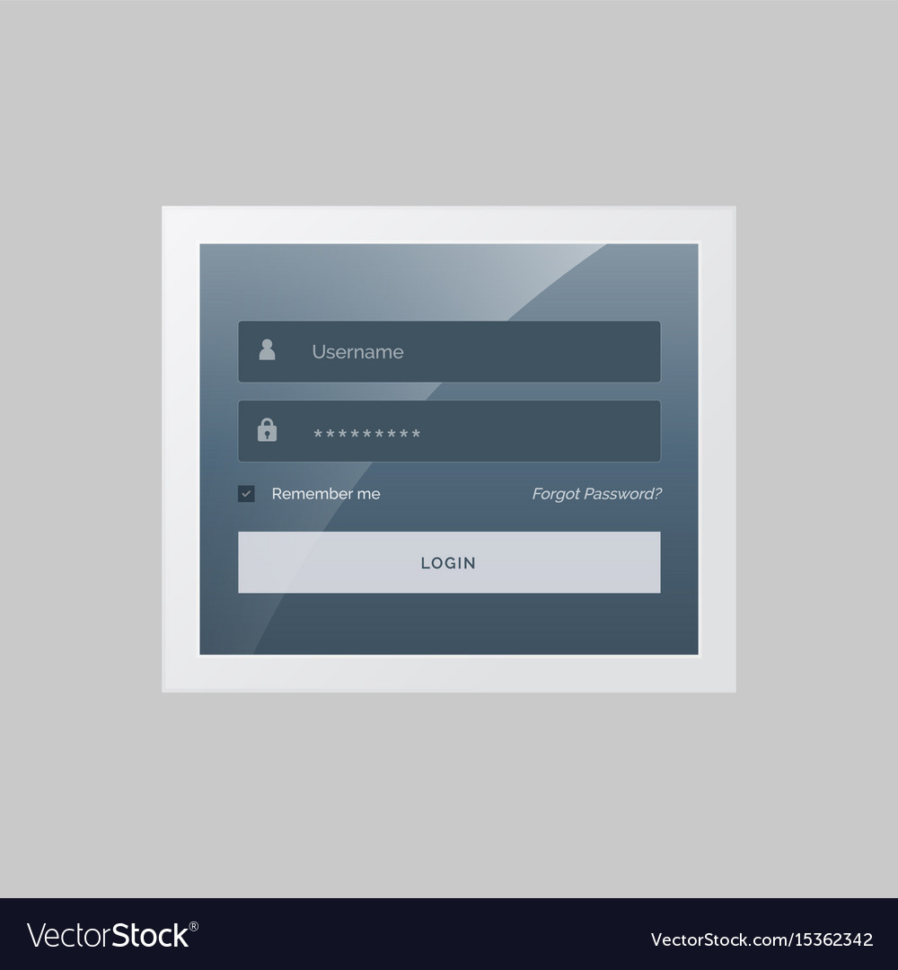 Modern login form design in gray and blue theme vector image