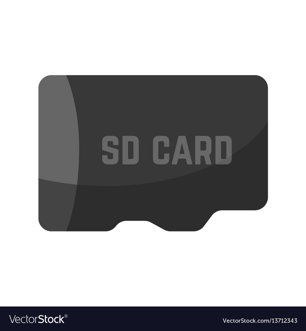 Black sd card device icon isolated on white vector image