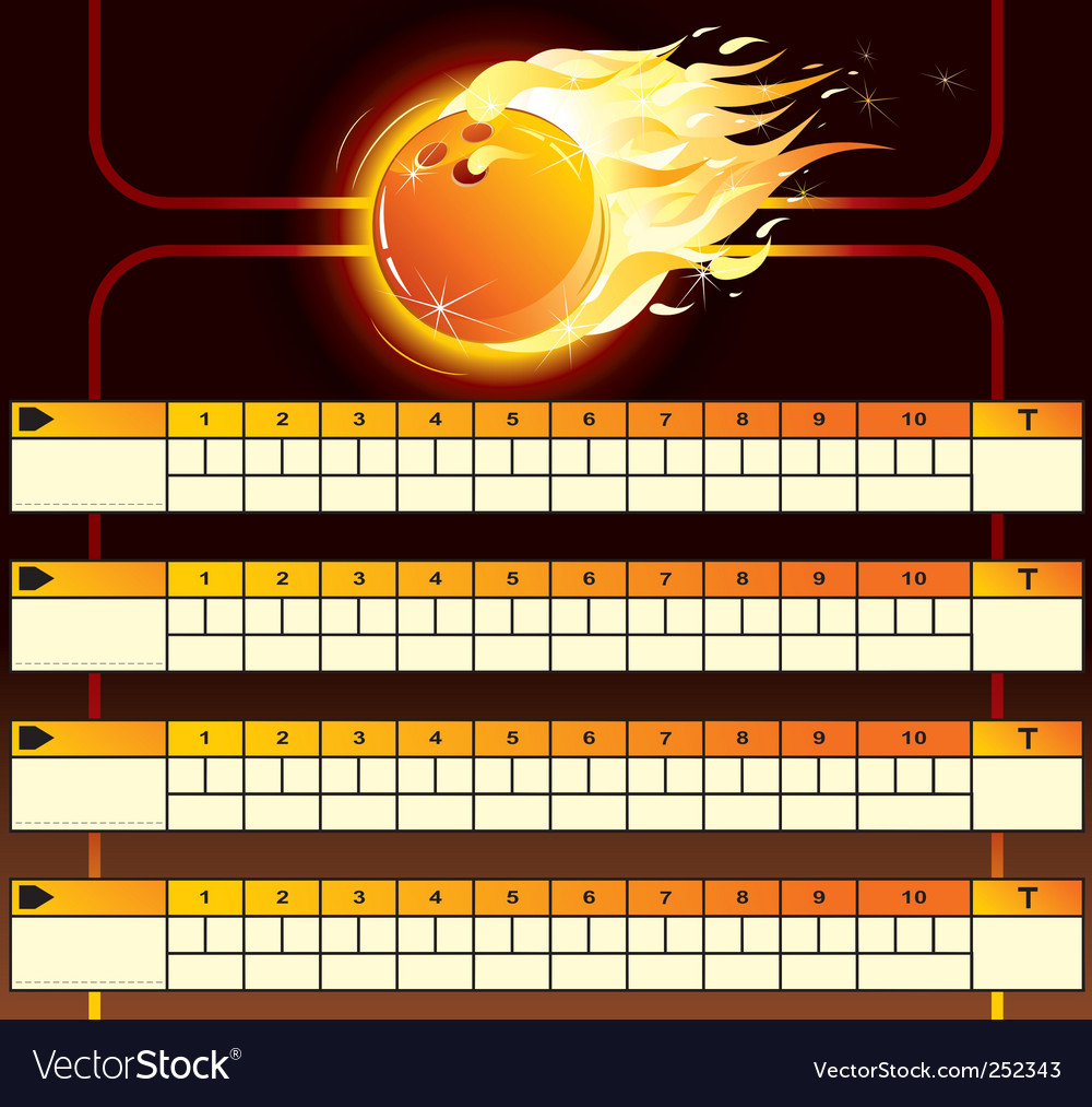 Bowling score card vector image