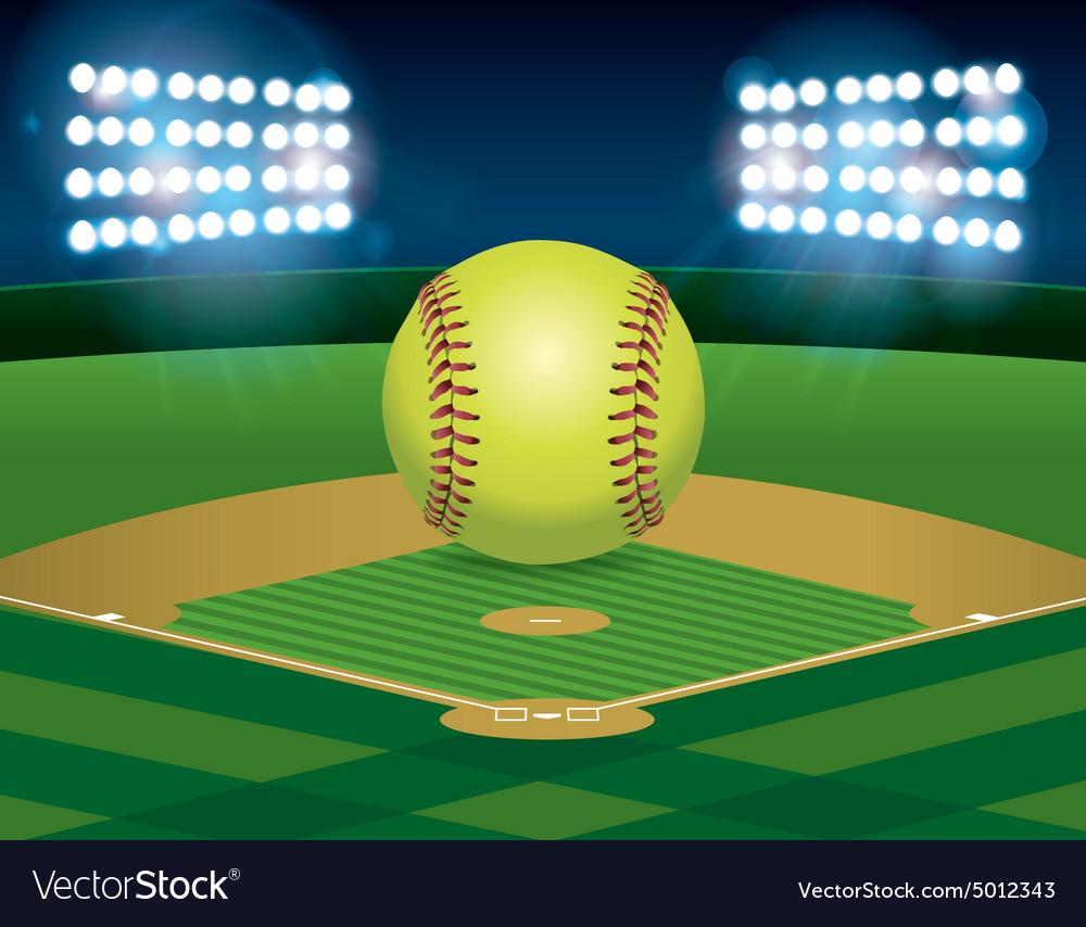 Softball on Stadium Field vector image