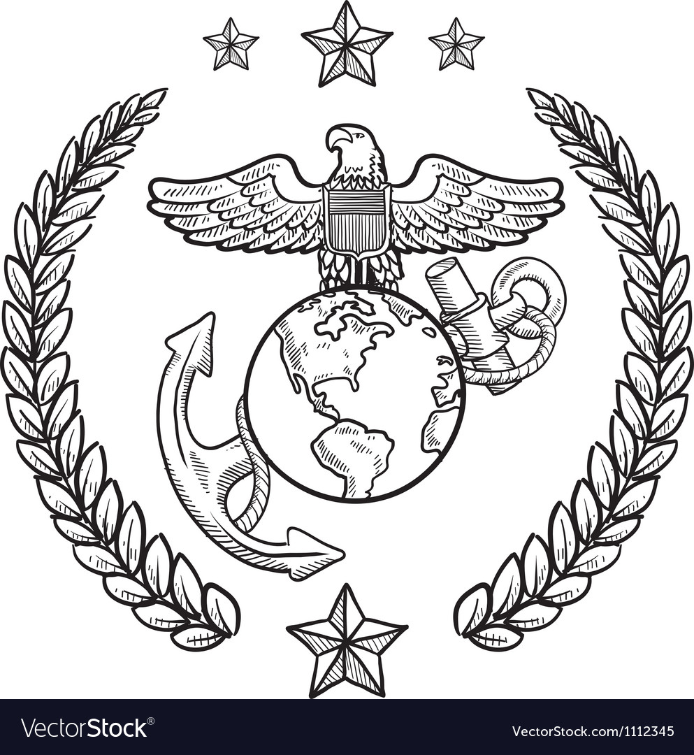 Doodle us military wreath marines vector image