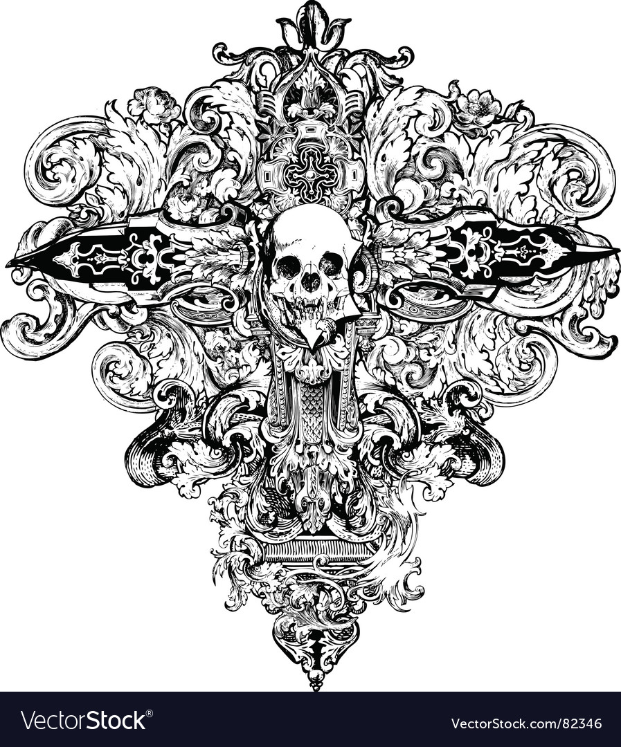 Cross skull illustration vector image