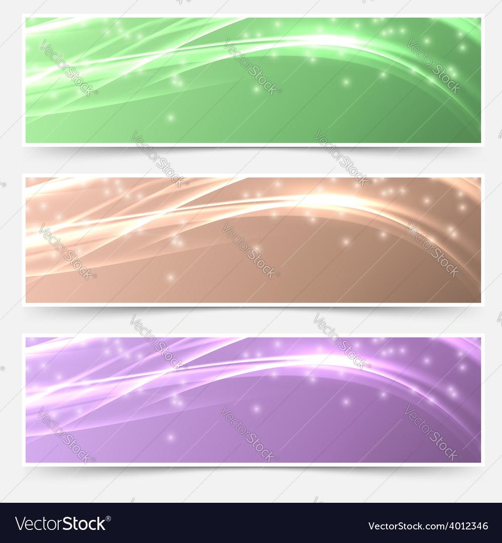 Bright shimmering glitter headers set templates vector image