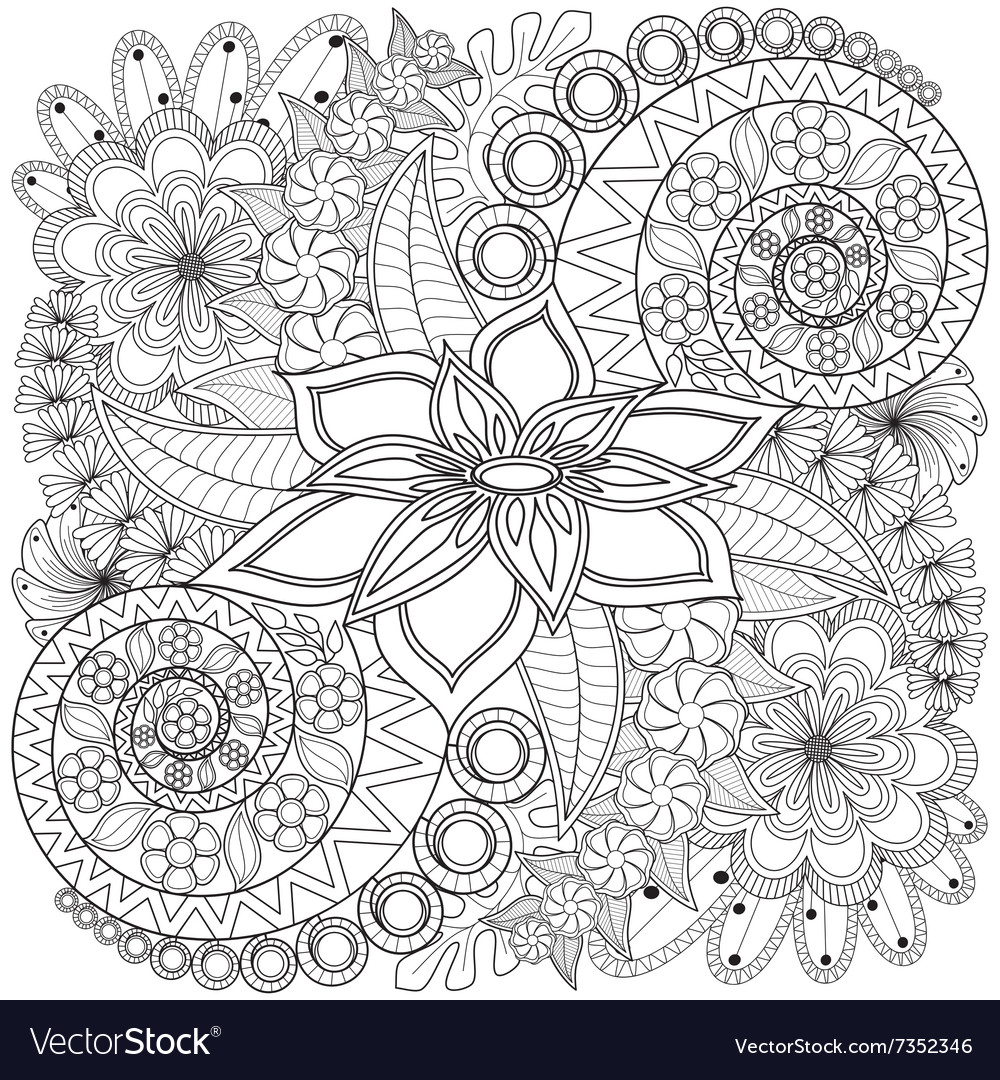 Flower swirl coloring page pattern vector image