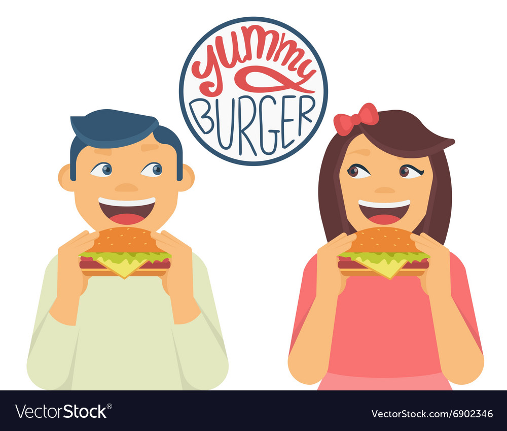 Happy boy and girl are eating a big hamburgers vector image