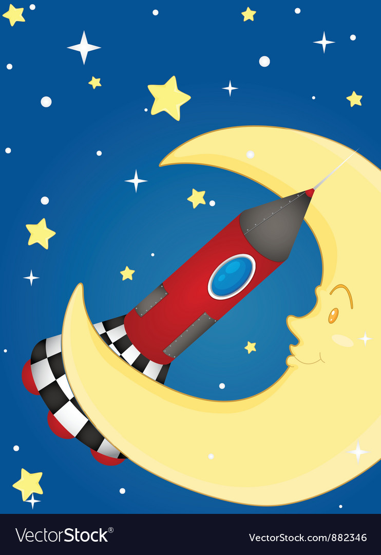 Rocket and moon vector image