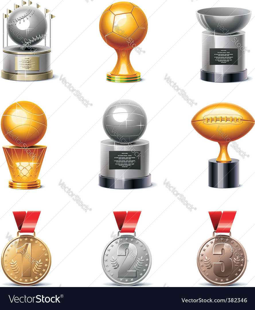 Sport trophies and medals vector image