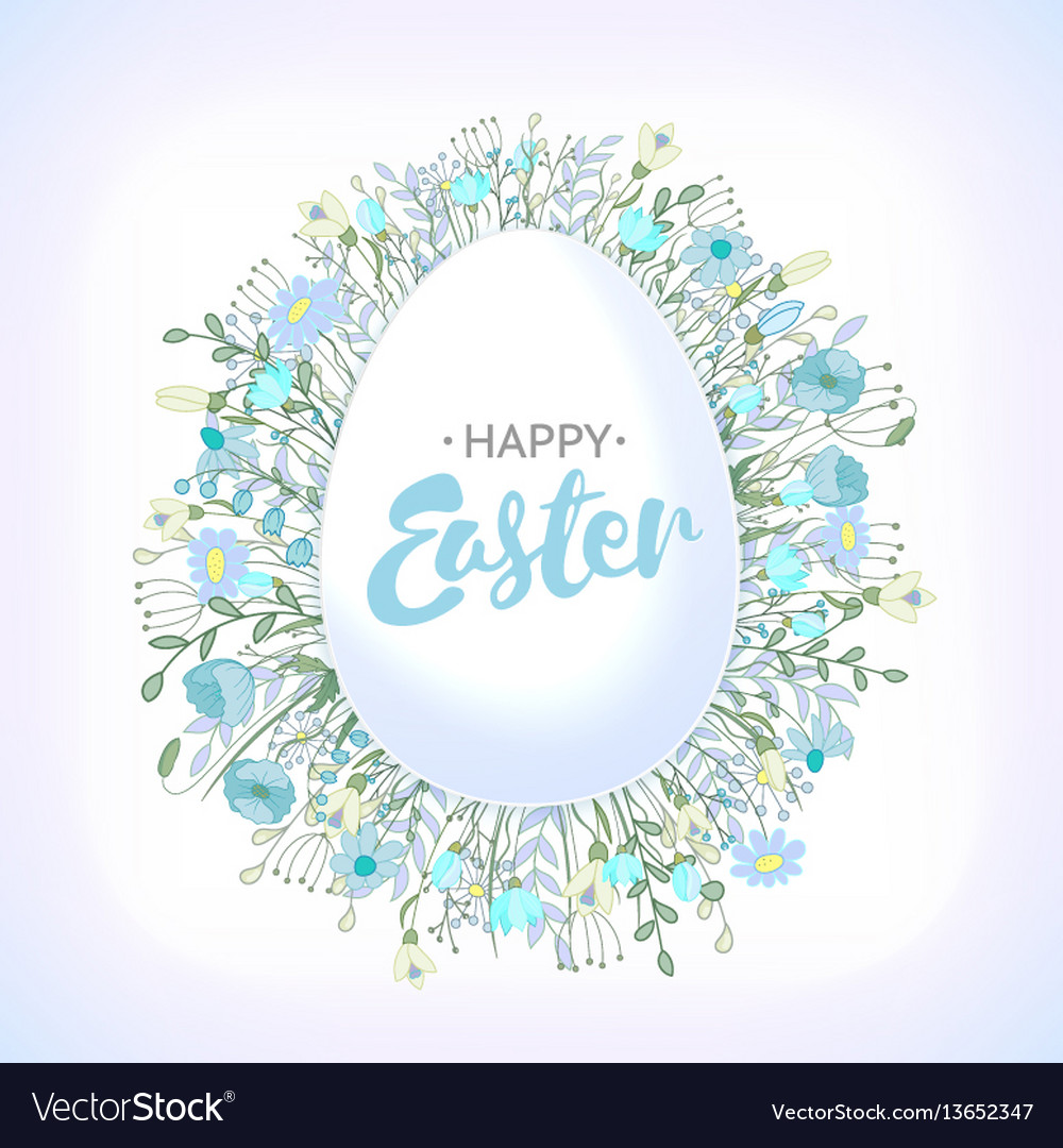 Cute and simple greeting card for easter vector image