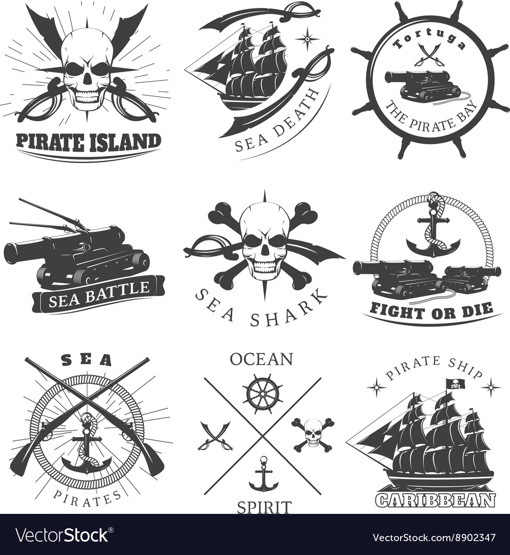 Piracy Black White Labels vector image