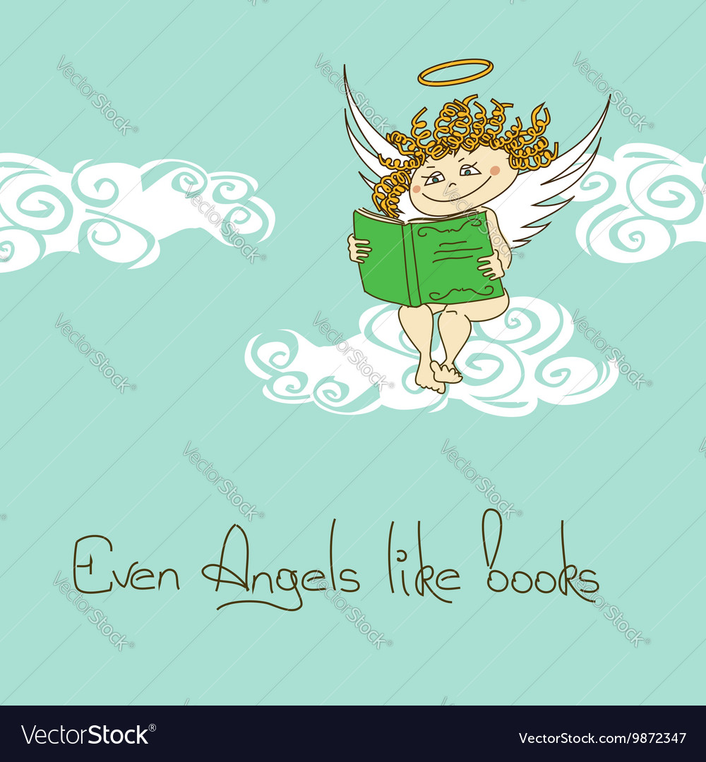 With Angel reading a book vector image