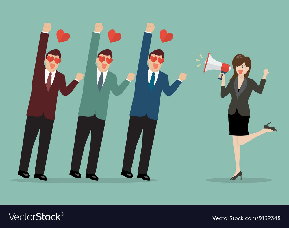 Business woman with a megaphone leading the vector image
