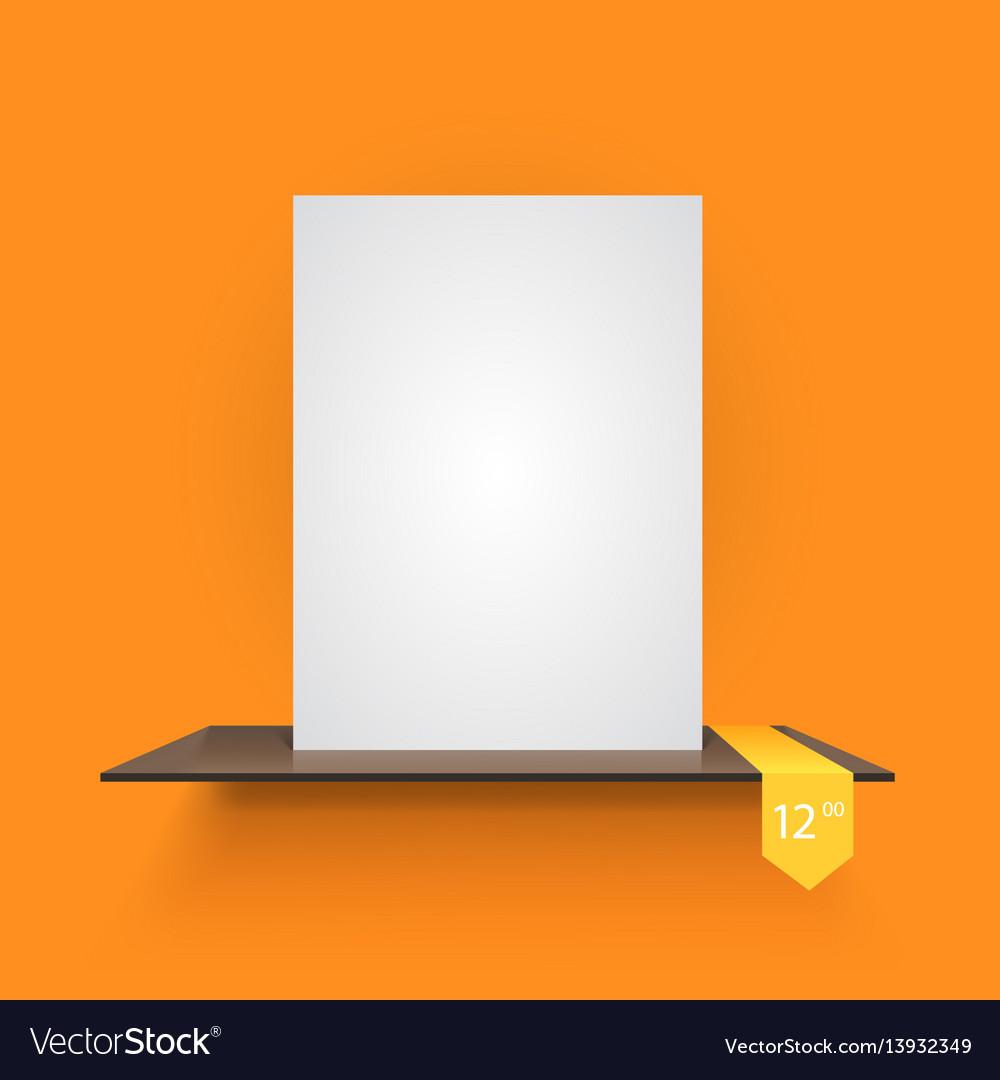Book shelf on light orange background vector image