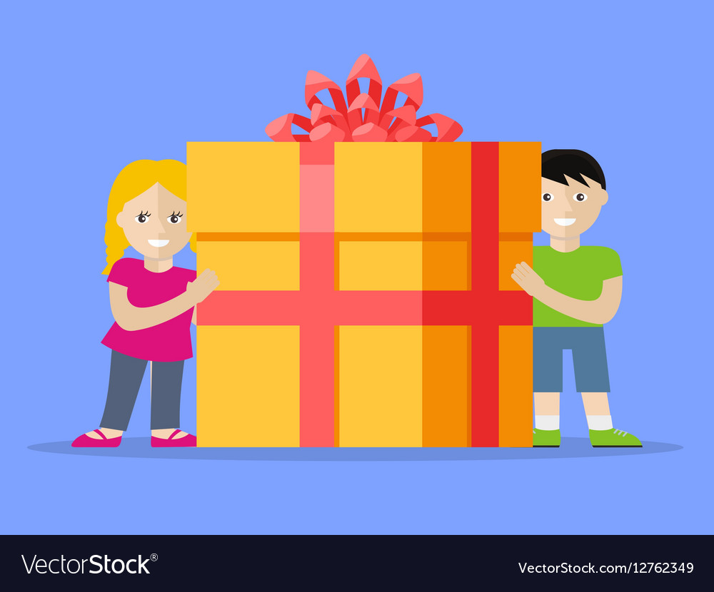Giving Present Concept Smiling Little Boy and Girl vector image