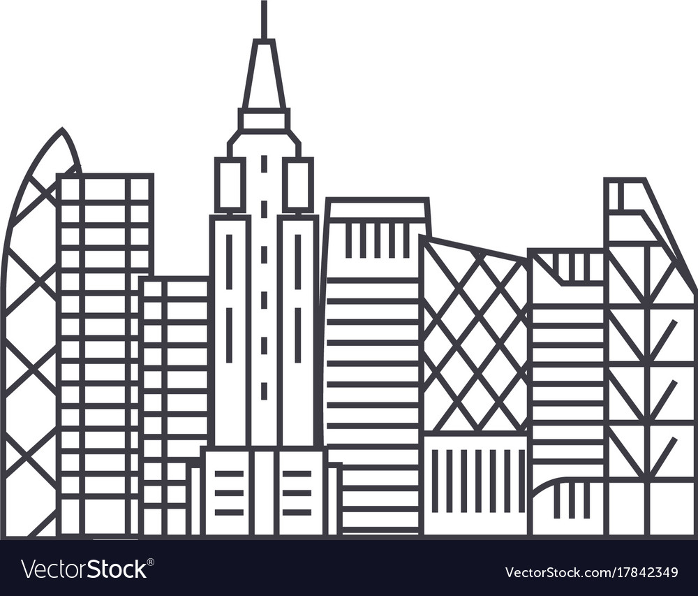 Skyscrapper line icon sign vector image