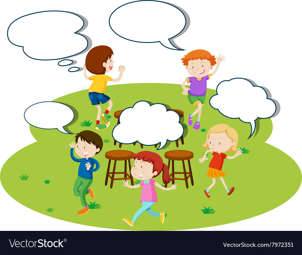 Children playing music chairs in the park vector image