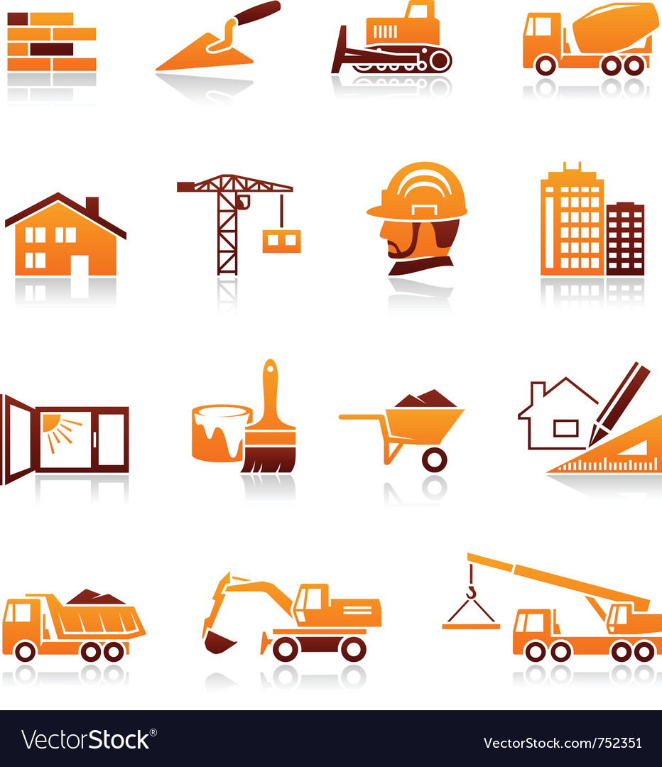 Construction and real estate icons vector image