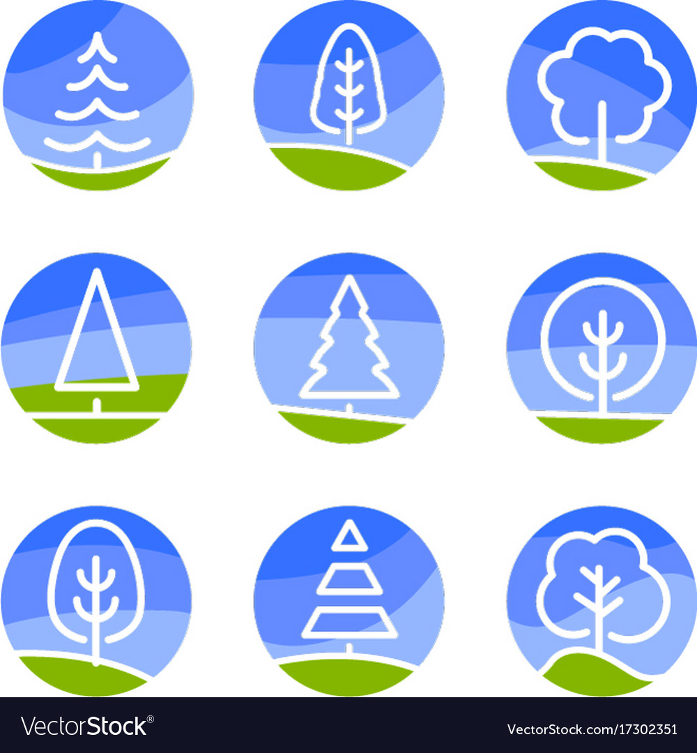 Nature abstract logo isolated white color trees vector image