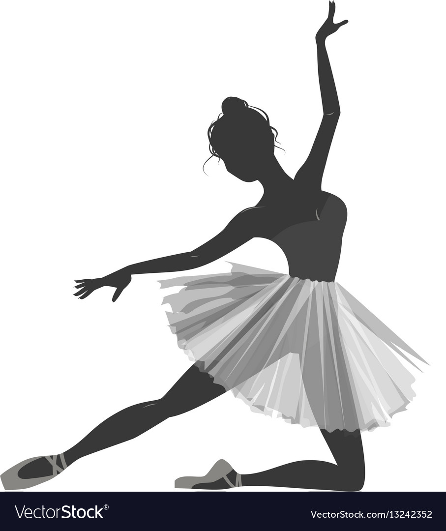 Ballerina girl silhouette isolated on white vector image