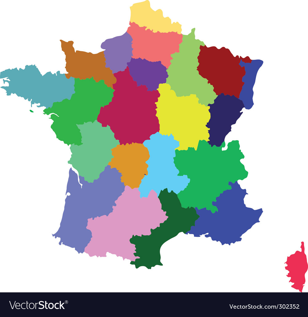 France map with regions Royalty Free Vector Image