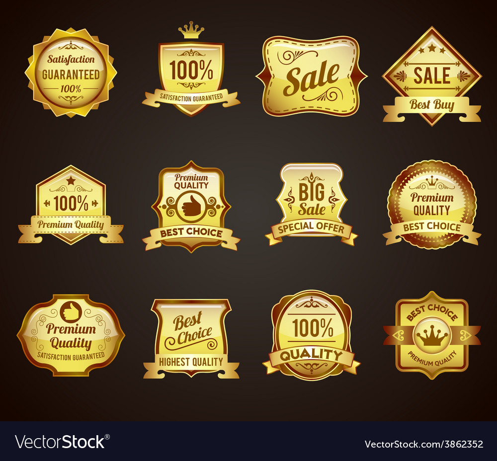 Golden sales labels icons collection vector image