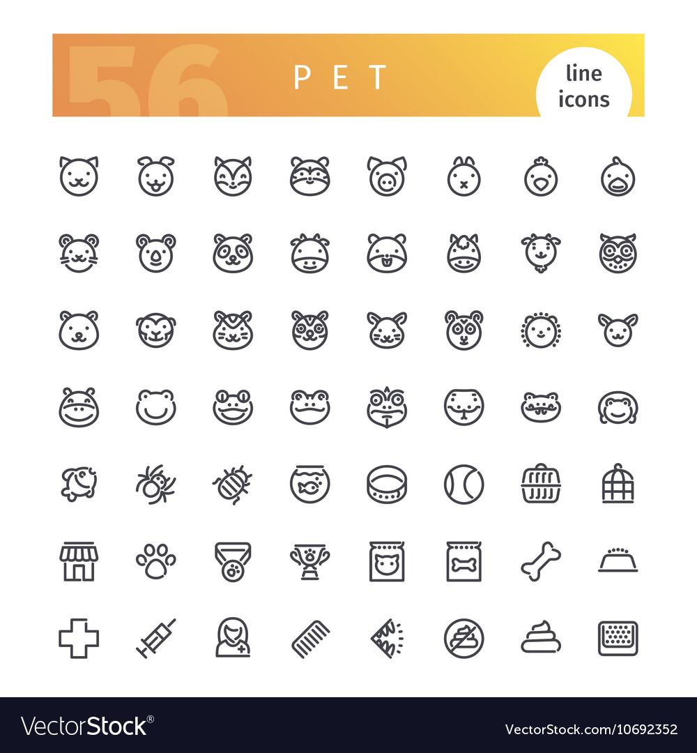 Pet Line Icons Set vector image