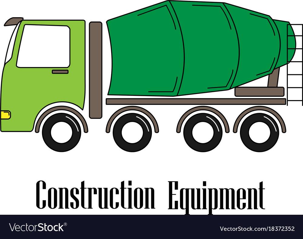 The concrete mixer vector image
