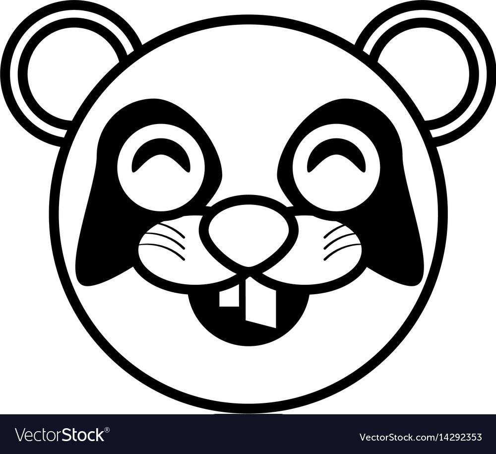 Face panda animal outline vector image
