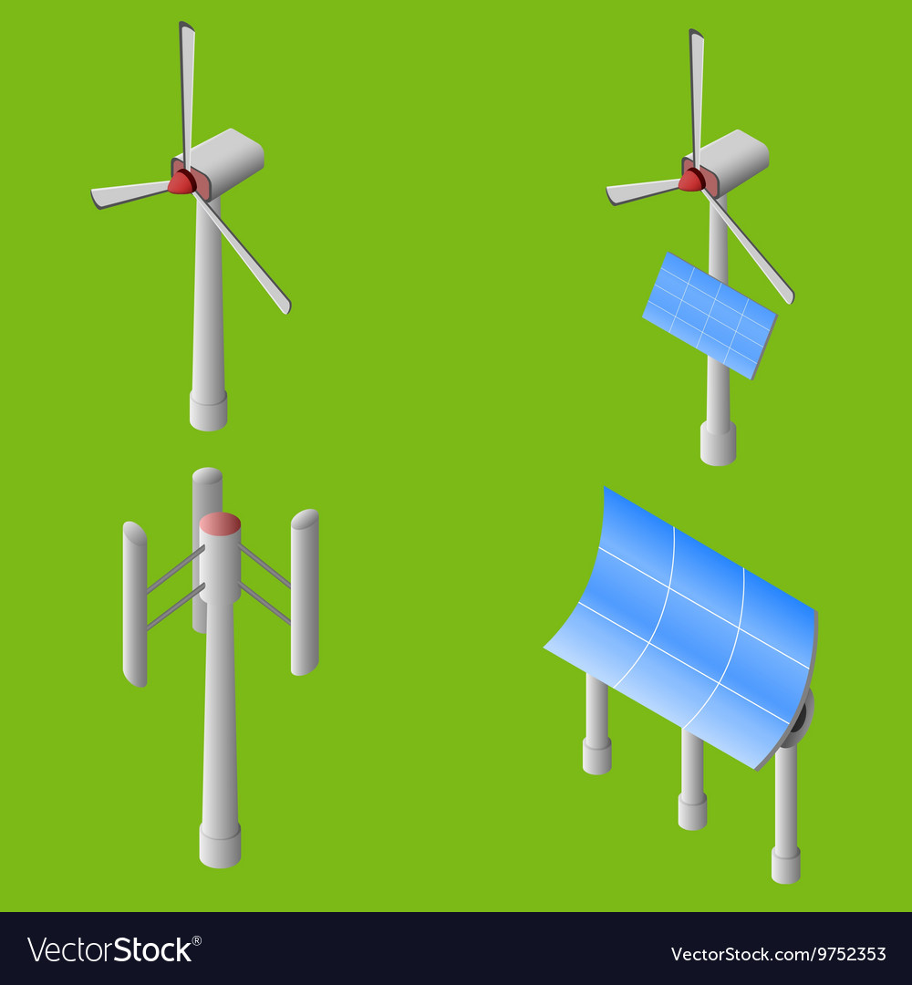 Wind solar generators vector image