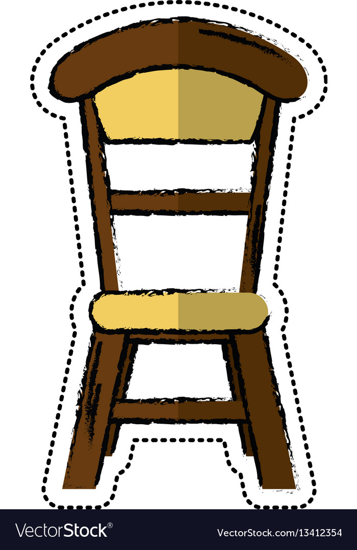 Cartoon wooden chair vintage design vector image