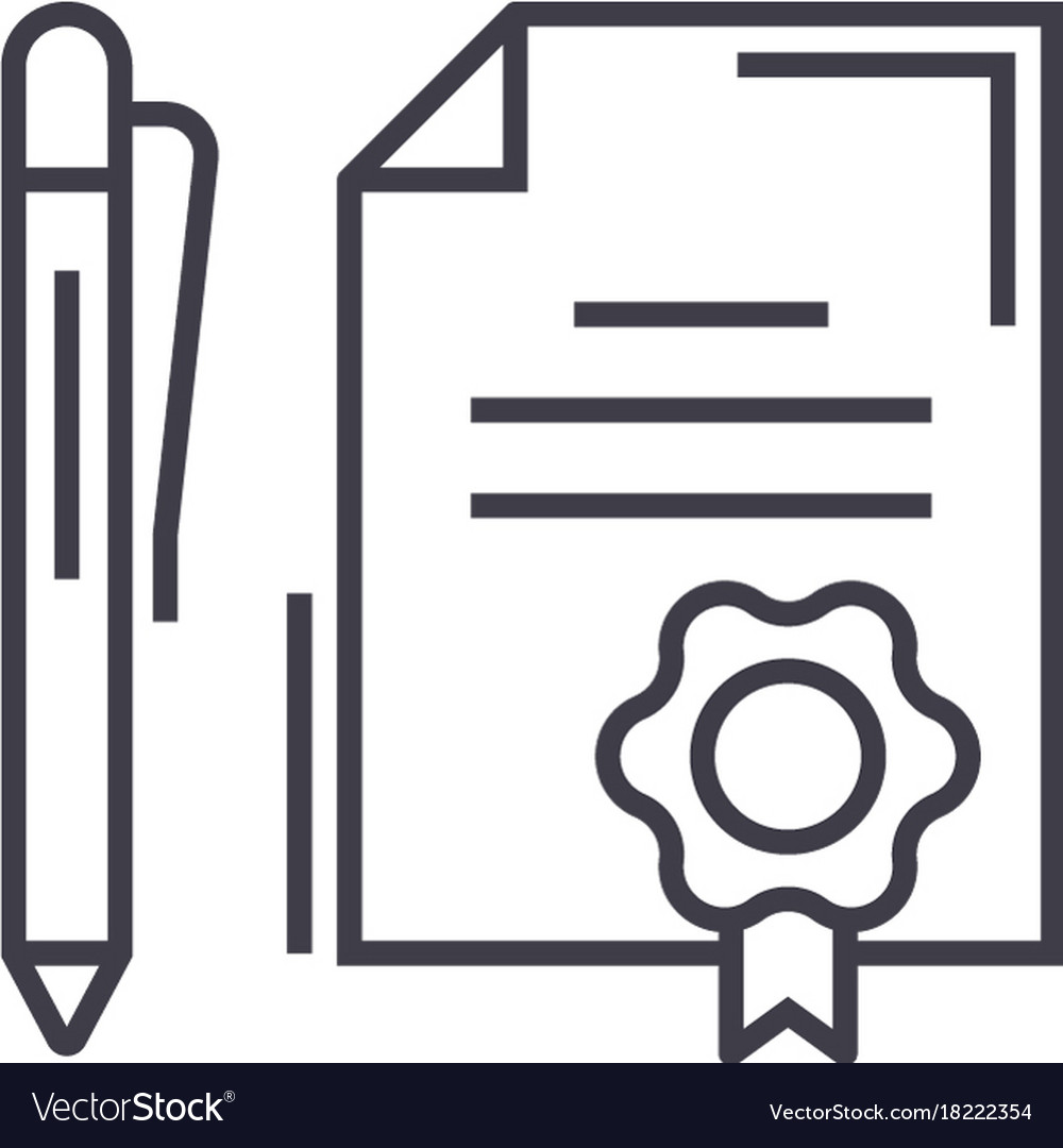 Contract with pen linear icon sign symbol vector image biocorpaavc Choice Image