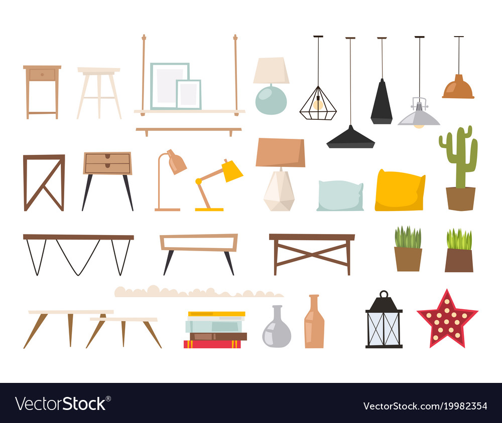 Furniture room interior design apartment vector image for Apartment design vector